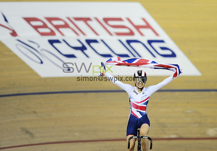 PICTURE BY ALEX BROADWAY/SWPIX.COM - Cycling - 2013 UCI Juniors Track World Championships - Day 4 - Sir Chris Hoy Velodrome, Glasgow, Scotland - 10/08/13 - Dannielle Khan of Great Britain celebrates after winning the Women's Sprint final.