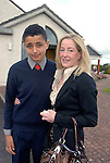 Sam Skerritt and his mother Sharon at his confirmation in the Star of the Sea Church, Mornington. Photo: www.newsfile.ie