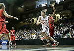 SIOUX FALLS, SD - MARCH 15: Isaac Sevlie #55 from Minnesota State University Moorhead gets a step past Brennen Hughes #10 from Central Missouri in the second half of their NCAA Regional game Sunday evening at the Sanford Pentagon in Sioux Falls, SD.  (Photo by Dave Eggen/Inertia)