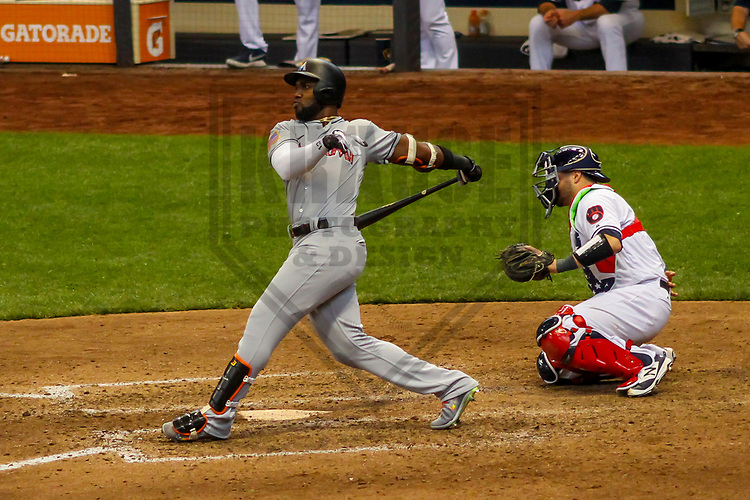 Miami Marlins outfielder Marcell Ozuna (13) during a Major League Baseball game against the Milwaukee Brewers on July 2, 2017 at Miller Park in Milwaukee, Wisconsin.  Miami defeated Milwaukee 10-3. (Brad Krause/Krause Sports Photography)
