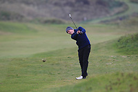 Joseph Byrne (Baltinglass) on the 12th fairway during Round 2 of the Ulster Boys Championship at Portrush Golf Club, Portrush, Co. Antrim on the Valley course on Wednesday 31st Oct 2018.<br /> Picture:  Thos Caffrey / www.golffile.ie<br /> <br /> All photo usage must carry mandatory copyright credit (&copy; Golffile | Thos Caffrey)