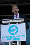 Dr David Bull speaking on stage at a Brexit Party event in Chester, Cheshire. The keynote speech was given by the Brexit Party leader Nigel Farage MEP who appeared alongside former Conservative government minister Ann Widdecombe. The event was attended by around 300 people and was one of the first since the formation of the Brexit Party by Nigel Farage in Spring 2019.