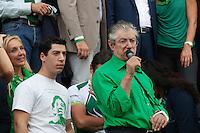 Venezia: il leader della Lega Nord Umberto Bossi con il figlio Renzo Bossi partecipano alla quindicesima edizione della festa nazionale dei popoli padani.