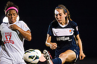 Sky Blue FC midfielder Katy Freels (Frierson) (17) plays the ball under pressure from FC Kansas City midfielder Desiree Scott (11). Sky Blue FC and FC Kansas City played to a 2-2 tie during a National Women's Soccer League (NWSL) match at Yurcak Field in Piscataway, NJ, on June 26, 2013.