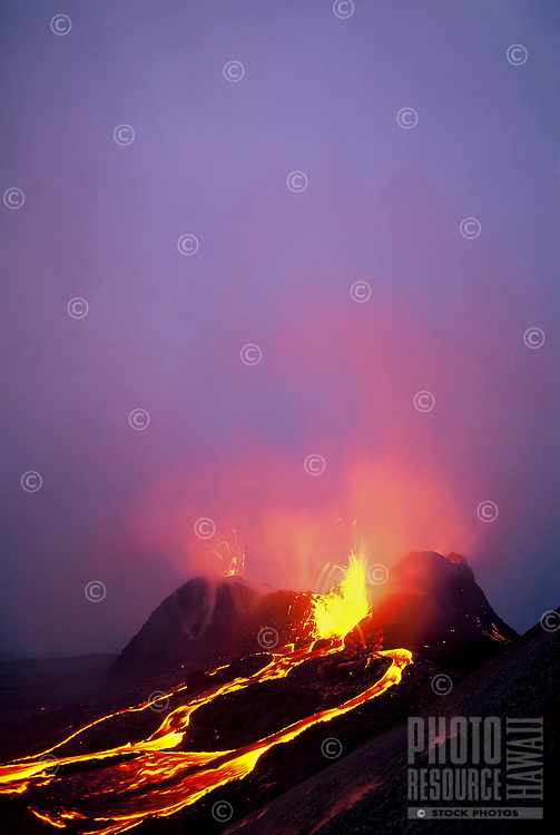 Lava fountains from splatter cone at Kilauea Volcano, Hawaii Volcanoes National Park, Big Island