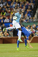 Micah Richards (2) Manchester City and Fernando Torres (9) Chelsea in aeriel battle..Manchester City defeated Chelsea 4-3 in an international friendly at Busch Stadium, St Louis, Missouri.
