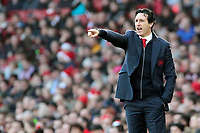 Arsenal manager Unai Emery shouts instructions to his team from the dug-out <br /> <br /> Photographer David Shipman/CameraSport<br /> <br /> The Premier League - Arsenal v Burnley - Saturday 22nd December 2018 - The Emirates - London<br /> <br /> World Copyright © 2018 CameraSport. All rights reserved. 43 Linden Ave. Countesthorpe. Leicester. England. LE8 5PG - Tel: +44 (0) 116 277 4147 - admin@camerasport.com - www.camerasport.com