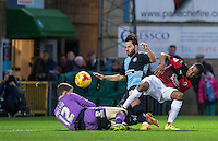 Sam Wood of Wycombe Wanderers goes close to goal during the Sky Bet League 2 match between Wycombe Wanderers and Crawley Town at Adams Park, High Wycombe, England on 28 December 2015. Photo by Andy Rowland / PRiME Media Images