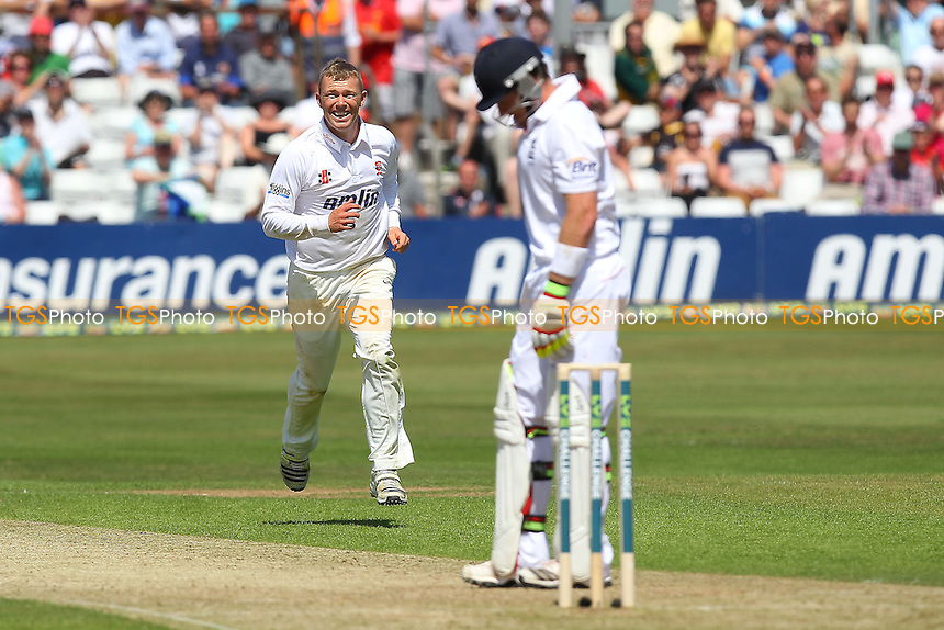 Delight for Tom Craddock as he takes the wicket of Ian Bell - Essex CCC vs England - LV Challenge Match at the Essex County Ground, Chelmsford - 30/06/13 - MANDATORY CREDIT: Gavin Ellis/TGSPHOTO - Self billing applies where appropriate - 0845 094 6026 - contact@tgsphoto.co.uk - NO UNPAID USE