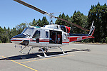 Bell Model 212 sits at the ready on the tarmac of the Nevada County Airport. N9122Z, registered to Inter-Mountain Helicopter in Sonora, California, was built in 1975 and is used for aerial firefighting.