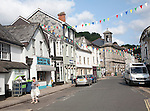 Shops and town hall in North Street, Ashburton, Devon, England, UK