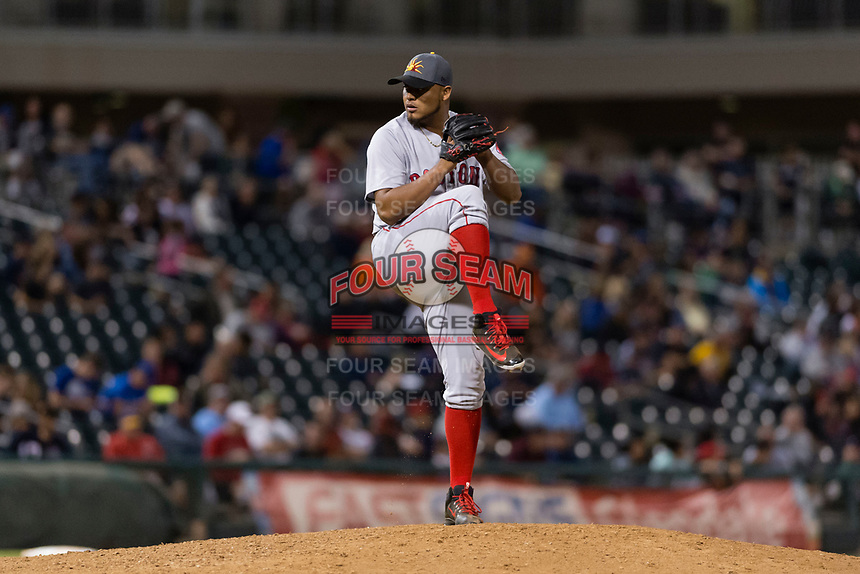 AFL East relief pitcher Darwinzon Hernandez (30), of the Mesa Solar Sox and Boston Red Sox organization, delivers a pitch during the Arizona Fall League Fall Stars game at Surprise Stadium on November 3, 2018 in Surprise, Arizona. The AFL West defeated the AFL East 7-6 . (Zachary Lucy/Four Seam Images)