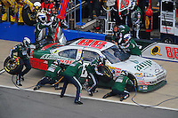 Oct 5, 2008; Talladega, AL, USA; NASCAR Sprint Cup Series driver Dale Earnhardt Jr pits during the Amp Energy 500 at the Talladega Superspeedway. Mandatory Credit: Mark J. Rebilas-