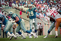 Scott Mitchell throws a pass, Detroit Lions at Tampa Bay Buccaneers NFL football game won by Tampa Bay 24-14 at Tampa Stadium, in Tampa , Florida on Sunday October 2, 1994 . (Photo by Brian Cleary/bcpix.com)