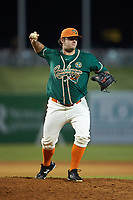 Greensboro Grasshoppers relief pitcher Bryce Howe (51) makes a pick-off throw to first base against the Augusta GreenJackets at First National Bank Field on April 10, 2018 in Greensboro, North Carolina.  The GreenJackets defeated the Grasshoppers 5-0.  (Brian Westerholt/Four Seam Images)
