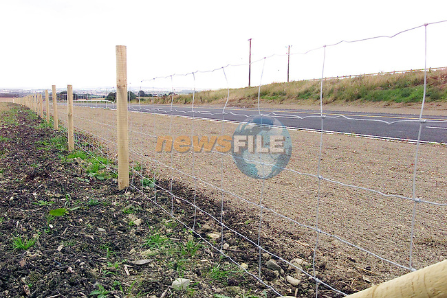 Part of the New Drogheda By Pass making up the M1 motorway with No crash Barrier in the Middle of the Road only chicken wire and wooden posts.Picture Fran Caffrey Newsfile...This Picture is sent to you by:..Newsfile Ltd.The View, Millmount Abbey, Drogheda, Co Louth, Ireland..Tel: +353419871240.Fax: +353419871260.GSM: +353862500958.ISDN: +353419871010.email: pictures@newsfile.ie.www.newsfile.ie