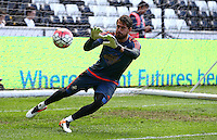 Kristoffer Nordfeldt of Swansea City warms up during the Barclays Premier League match between Swansea City and Manchester City played at The Liberty Stadium, Swansea on 15th May 2016