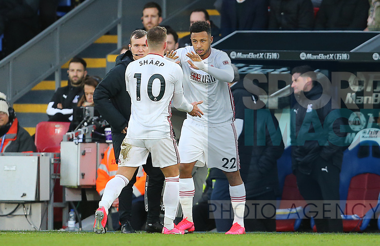 Sheffield United's Billy Sharp is substituted for Sheffield United's Lys Mousset during the Premier League match at Selhurst Park, London. Picture date: 1st February 2020. Picture credit should read: Paul Terry/Sportimage
