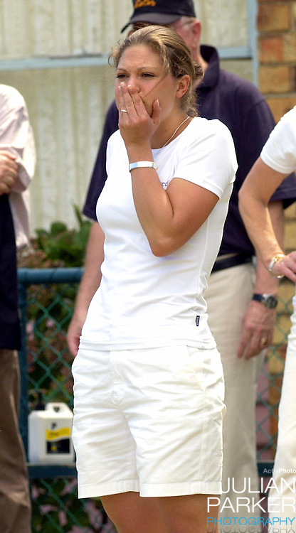 Crown Princess Victoria of Sweden plays lawn bowls at Princes Park Bowling Club in Melbourne, during her visit to promote 'Swedish Style In Australia..