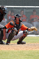 Baltimore Orioles minor league player Tanner Murphy #10 during a spring training game vs the Boston Red Sox at the Buck O'Neil Complex in Sarasota, Florida;  March 22, 2011.  Photo By Mike Janes/Four Seam Images