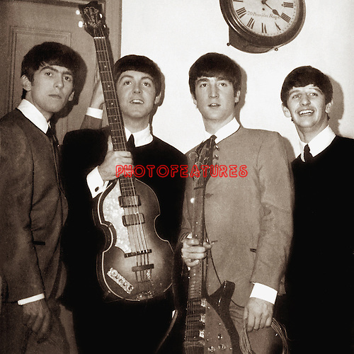 The Beatles 1963 George Harrison, Paul McCartney, John Lennon and Ringo Starr at  The Royal Albert Hall.