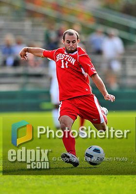 12 October 2011: Boston University Terriers' Forward/Midfielder Ben Berube, a Senior from Somerset, MA, in action against the University of Vermont Catamounts at Centennial Field in Burlington, Vermont. The Catamounts were shut out 1-0 by the visiting Terriers. Mandatory Credit: Ed Wolfstein Photo