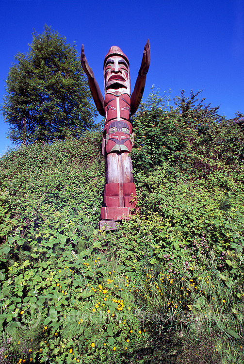 Totem Pole at False Creek, Vancouver, BC, British Columbia, Canada - Coast Salish Snauq Welcome Figure