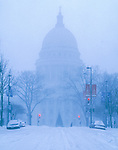Wisconsin State Capitol during a heavy blizzard.