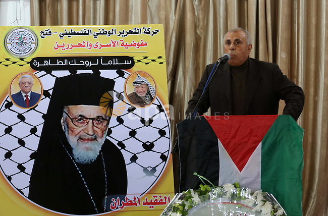 Palestinians attend a memorial service for a Syrian Greek Melkite archbishop, Hilarion Capucci, who died in Rome on Sunday at age 94, in Gaza city, on January 05, 2017. Capucci was described as an icon of the Palestinian liberation struggle. Photo by Mohammed Asad