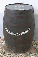 Barrel with the winery name outside. JM Jose Maria da Fonseca, Azeitao, Setubal, Portugal