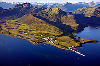 Aerial of the town of Tatitlek and Tatitlek Narrows, Prince William Sound, Chugach National Forest, Alaska.