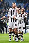04.11.2018, Sch&uuml;coArena / Schueco Arena, Bielefeld, Deutschland, GER, 2. FBL, DSC Arminia Bielefeld vs. FC St. Pauli<br /> <br /> DFL REGULATIONS PROHIBIT ANY USE OF PHOTOGRAPHS AS IMAGE SEQUENCES AND/OR QUASI-VIDEO.<br /> <br /> im Bild Henk Veerman (#25 St. Pauli), Mats M&ouml;ller Daehli / Moeller Daehli (#14 St. Pauli) nach Sieg<br /> <br /> Foto &copy; nordphoto / Kurth