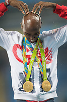 Team GB Mo Farah celebrates his second gold in Rio after winning the 5,000m. <br /> Rio de Janeiro, Brazil on August 20, 2016.<br /> CAP/CAM<br /> &copy;Andre Camara/Capital Pictures