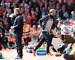 Jurgen Klopp manager of Liverpool runs in at half time during the English Premier League match at Anfield Stadium, Liverpool. Picture date: April 1st 2017. Pic credit should read: Simon Bellis/Sportimage