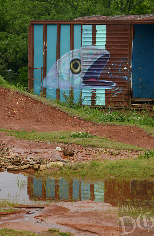NWA Democrat-Gazette/BEN GOFF @NWABENGOFF<br /> Water pools Friday, May 12, 2017, at The Railyard Bike Park in Rogers, which has been closed since heavy rain in April. Rogers plans to reopen some of Lake Atalanta park South of Walnut Street on Saturday, but The Railyard will remain closed for the time being.