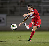 Diana Matheson (8) of the Washington Spirit passes the ball forward during the game at the Maryland SoccerPlex in Boyds, Md.   Chicago defeated Washington, 2-0.