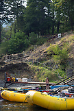USA, Oregon, Wild and Scenic Rogue River in the Medford District, boats tied up at the Paradise Lodge