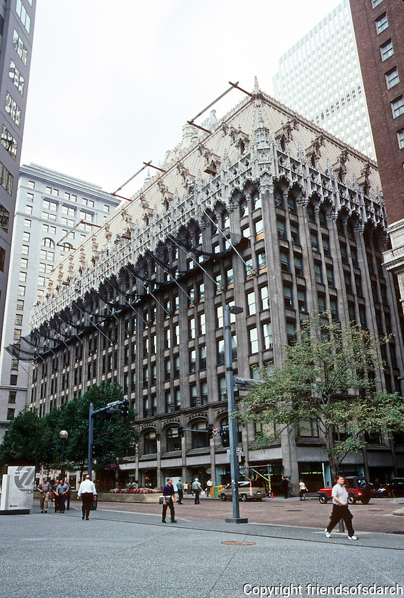 Pittsburgh: Union Trust Builiding, 535 Grant St. Frederick Osterling, Architect, 1916. For H.C. Frick. Flemish Gothic with shopping arcade inside. Photo 2001.