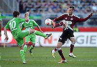 FUSSBALL   1. BUNDESLIGA  SAISON 2012/2013   10. Spieltag 1. FC Nuernberg - VfL Wolfsburg      03.11.2012 Diego (li, VfL Wolfsburg) gegen Tomas Pekhart (1 FC Nuernberg)
