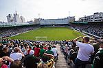 Stockholm 2013-06-23 Fotboll Superettan , Hammarby IF - &Auml;ngelholms FF :  <br /> Vy &ouml;ver planen fr&aring;n &Ouml;stra l&auml;ktaren under sista matchen p&aring; S&ouml;derstadion<br /> (Foto: Kenta J&ouml;nsson) Nyckelord:  utomhus exteri&ouml;r exterior supporter fans publik supporters