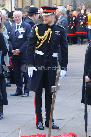 Prince Harry, Duke of Sussex attends the opening of the Field of Remembrance at Westminster Abbey in London.<br />