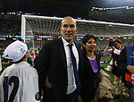 Zinedine Zidane manager of Real Madrid with his partner during the Champions League Final match at the Millennium Stadium, Cardiff. Picture date: June 3rd, 2017.Picture credit should read: David Klein/Sportimage
