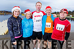 Clodagh and Mary Donnelly, Liam O'Halloran and Anthony Donnelly from Ballyheigue with Kieran Nolan from the Spa ready for a run for fun at the Santa Fun run in memory of Fiona Moore, in the Tralee Bay Wetlands on Sunday