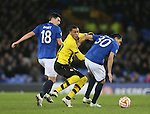 Guillaume Hoarau of BSC Young Boys between Gareth Barry and Antolin Alcarez of Everton - UEFA Europa League Round of 32 Second Leg - Everton vs Young Boys - Goodison Park Stadium - Liverpool - England - 26th February 2015 - Picture Simon Bellis/Sportimage