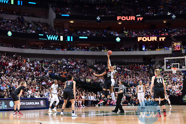 DALLAS, TX - MARCH 31:  Erica McCall #24 of the Stanford Cardinal and A'ja Wilson #22 of the South Carolina Gamecocks jump for the ball during the 2017 Women's Final Four at American Airlines Center on March 31, 2017 in Dallas, Texas. (Photo by Justin Tafoya/NCAA Photos via Getty Images)