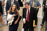 United States Senator John Barrasso, Republican Wyoming, talks to a reporter in the Senate Subway during a Senate vote on Capitol Hill in Washington, DC on July 7, 2018. <br /> CAP/MPI/RS<br /> &copy;RS/MPI/Capital Pictures
