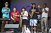 Veteran multi-instrumentalist Premik Russell Tubbs, far left, and trumpet player Reggie Pittman, far right, jam with local musicians during the third annual Coltrane Music Festival at Hecksher Park in Huntington on Saturday, July 22, 2017. Playing alongside them are, from left, Natalie Barbieri of East Northport on alto saxophone, Sarah Turkiew of Bethpage on baritone saxophone and George Ariza of Island Park on alto saxophone.