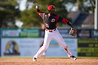 Batavia Muckdogs third baseman Javier Lopez (23) throws to first base during the second game of a doubleheader against the Auburn Doubledays on September 4, 2016 at Dwyer Stadium in Batavia, New York.  Batavia defeated Auburn 6-5. (Mike Janes/Four Seam Images)