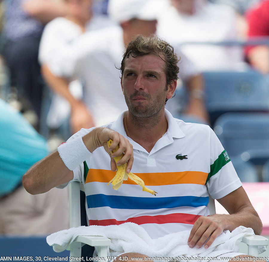 Julien Benneteau.Tennis - US Open - Grand Slam -  New York 2012 -  Flushing Meadows - New York - USA - Sunday 2nd September  2012. .© AMN Images, 30, Cleveland Street, London, W1T 4JD.Tel - +44 20 7907 6387.mfrey@advantagemedianet.com.www.amnimages.photoshelter.com.www.advantagemedianet.com.www.tennishead.net
