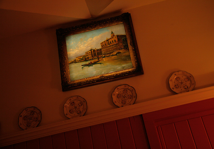 domestic scene<br /> Venetian style painting in the manner of Canalleto (c. 1950's)<br /> rustic country dining room